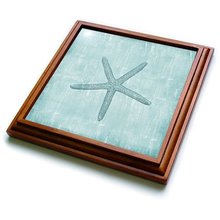 3dRose trv_178911_1 Aqua Starfish Abstract beach theme-Trivet with Ceramic Tile, 8'' x 8'', Brown by 3dRose