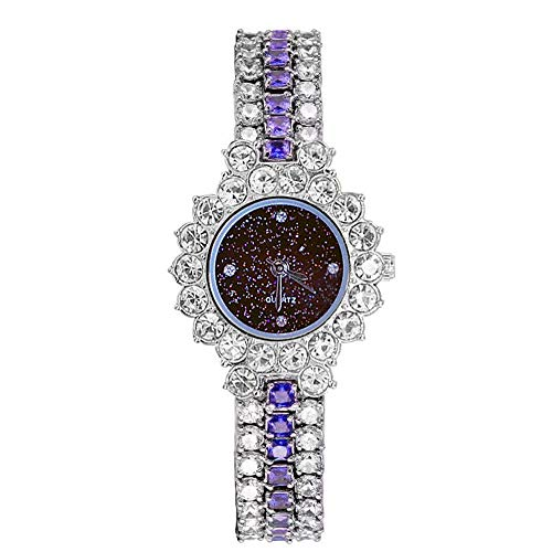 MINILUJIA Luxury Women's Quartz Analog Artificial Diamond Shining Bling Starry Sky Round Dial Dress Wrist Watches (Silver+Blue)