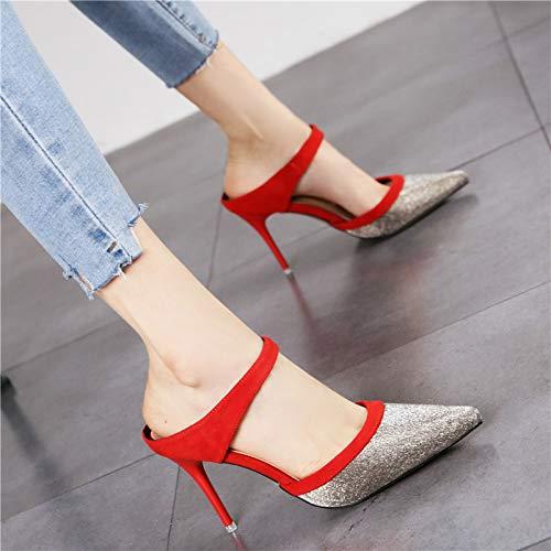 Moda Puntiaguda Hrcxue Un Y Par Sentido La Rojo Zapatos Femenino De Zapatillas Sandalias Aguja Corte Costura Tacones Con WxBBUFqwHn