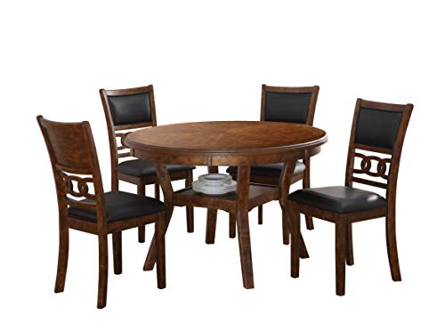 New Classic Furniture Gia Round Dining Set, 5 Piece, Brown