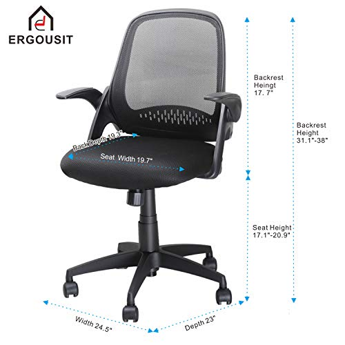 Ergousit Mid-Back Mesh Office Chair, Ergonomic Desk Chairs Swivel Computer Task Chairs with Adjustable Height and Flip-up Armrest - Lumbar Support and Sponge Cushion in Black (Black) by Ergousit (Image #6)