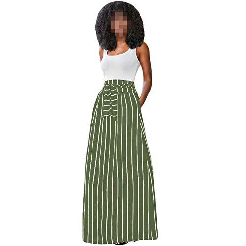 Crunchy Candy 2019 Summer Women Long Skirt Striped Skirts Female High Waist Tie Big Hem Skirt,Army Green,XL