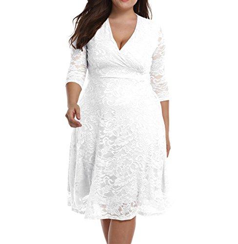 Chenghe Women's Plus Size Lace Bridal Skater Wedding Party Mother Dress White - Plus Dress Size Wedding Informal