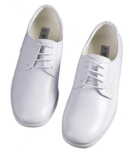 Boys White Lace Up Round Toe Dress Shoes - Wedding - First Communion (3 M US Little Kid) - Holy Communion Suits