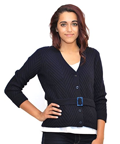 Ralph Lauren Women V-neck Button Down Belted Wool Cardigan (L, Navy)