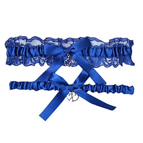 Something Blue Wedding Bridal Garter Set Lace Royal Blue Wedding Garter SeLace Garter Set Wedding Garter Belt for Bride (Royal Blue A)