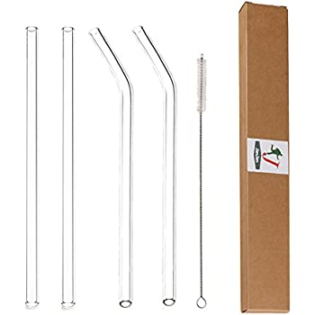"Glass Straws Clear 9"" x 9.5 mm Drinking Straws Reusable Straws Healthy, Reusable, Eco Friendly, BPA Free, 4 Pack With Cleaning Brush"