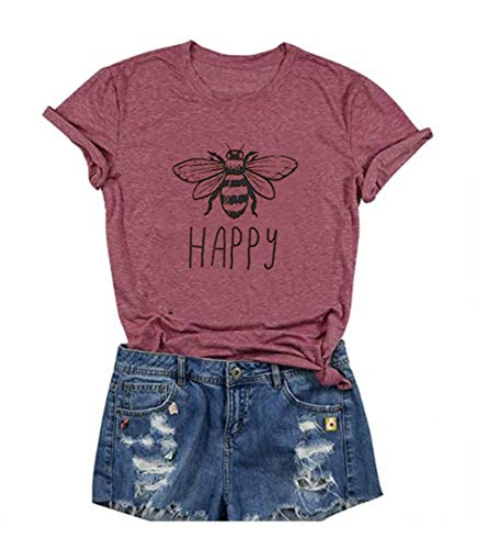 HDLTE Vintage Happy Bee T Shirt Women Short Sleeve Retro Graphic Casual Tshirt Tees (Pink, S)