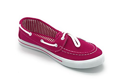 Shoe Slip Sneaker Boat Blue On Berry Toe Canvas up Fuchsia Tennis Flat Round Lace Comfy EASY21 7aqwY6
