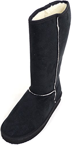 Womens Long Outdoor Faux Suede Boots, Roll Up / Down Design & Warm Fleece Inner Black