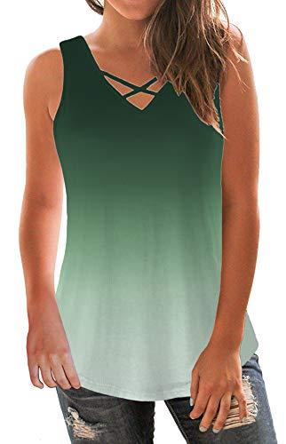 onlypuff Gradient Tank Tops for Women V Neck Tunic Sleeveless Green Criss Cross Lightweight Vest XXL