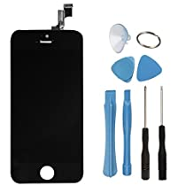 ZTR LCD Touch Screen Digitizer Frame Assembly Full Set LCD Touch Screen Replacement for iPhone 5S - Black
