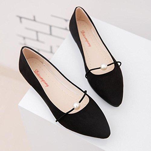 Women Office Flats Boat Sandals Low Heel Flat Shoes Wedge Slippers Hemlock (US:8.5, Black)