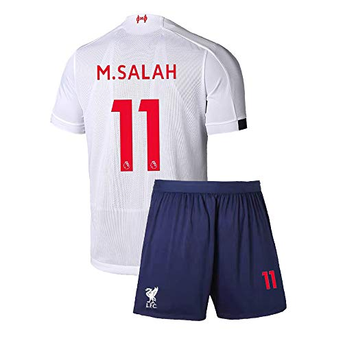 4 Away Soccer Jersey - Youth M. Salah Jersey 11 Away Soccer 2019/20 Kids Shorts Liverpool Mohamed Sizes White (S=22(4-6Years Old))