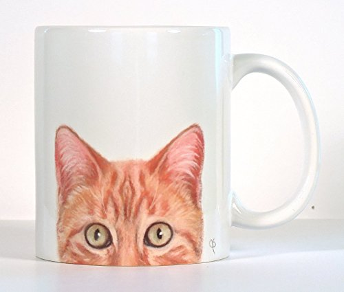 Cat Mug, Orange Tabby Cat Mug, Personalized Cat Gift, Add Your Name or Message for $<!--$16.95-->