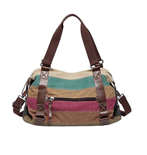 3 Handbag Tote Bag Bag Canvas Women's Shoulder Hobos Bags Defeng Multicolour Striped xZP7qqz