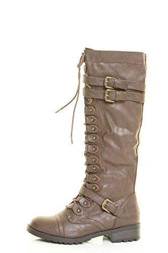 Boot Lace Stud Womens Wild Diva Riding Calf Military up Brown Mid Toe Round Combat xgx7Tn