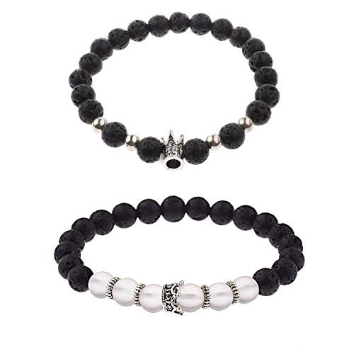 ISAACSONG.DESIGN Unisex Prayer Healing Round Natural Lava Black Stone 8mm Beads Stretch Bracelet with Charms (2 PCs King&Queen Crown Lava ()