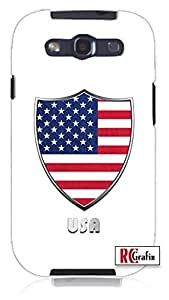 Cool Painting Premium United States America USA National American Flag Badge Direct UV Printed (not a sticker) Unique Quality Soft Rubber Case for Samsung Galaxy S4 I9500 - White Case