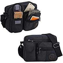 "Vintage Retro Canvas Messenger Bag Crossbody Shoulder Bag Small Men's Purse Travel Satchel Casual Sling Bag for iPad 7.9"" and 9.7"" E-Reader-Black"