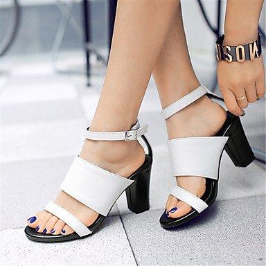 Verano Guantes-Sandalias para mujer Oficina vestido Fiesta & festivität actúan de sustancias de piel sintética de bloque de color blanco-Zapatos de tacón de novedad Gladiator Club Negro negro