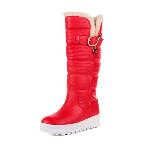 On Pu Women's Low Solid Round Toe Boots Heels Pull Allhqfashion Closed Red zqT4wgx