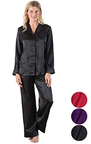 (Addison Meadow Womens Satin Pajamas - Pajama Set for Women, Black, 2X / 20-22)