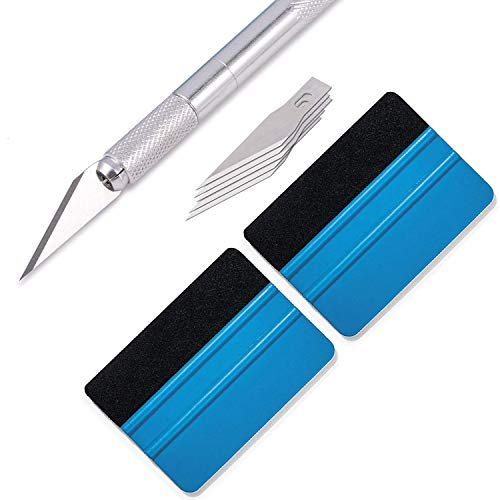 GUGUGI CARTINTS Window Tint Application Tools Kit Hobby Knife Felt Edge Squeegee Set Vinyl Applicator with 5 Pcs Craft Knife Blades for Installing Contact Paper,Self-Adhesive Film, Vinyl Wrap