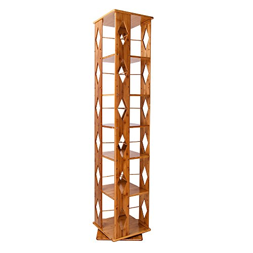 MallBoo Bamboo Modern Revolving Decorative Collection Bookcase with 6 Adjustable Multipurpose Book Shelves/Storage & Organizer Cabinet