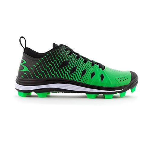 Boombah Men's Squadron Molded Cleats Black/Lime Green - Size 11 (Cleats Green Baseball Dark)