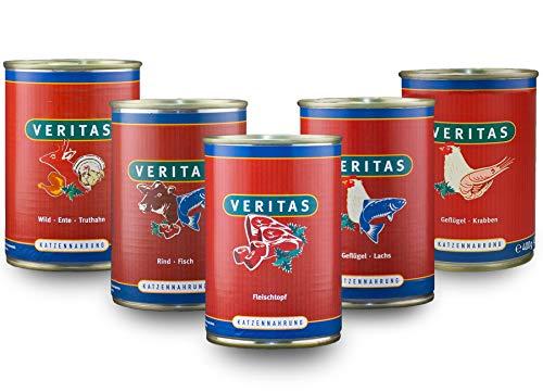 veritas Katzenmenü Mix Katzenfutter nass – 5 Gourmet Sorten Nassfutter für Katzen I Geflügel Fisch Rind Wild Ente Huhn…