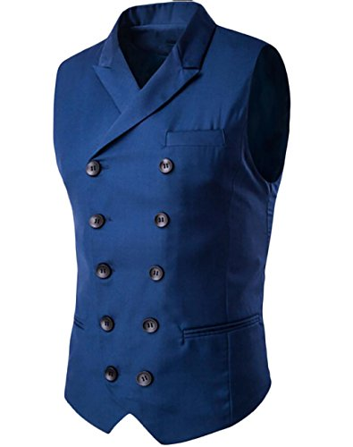 - ouxiuli Mens Banded Collar Pocket Sleeveless Double-Breasted Gap Slim Fitted Suit Vest Blue M
