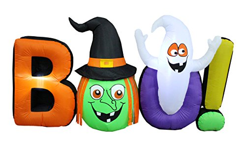 BZB Goods 8 Foot Long Halloween Inflatable Witch Ghost Boo LED Lights Decor Outdoor Indoor Holiday Decorations, Blow up Lighted Yard Decor, Lawn Inflatables Home Family ()