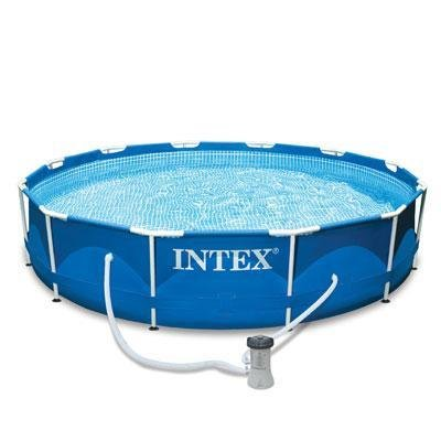 Intex 12 x 2.5 Foot Metal Frame Above Ground Pool and Filter