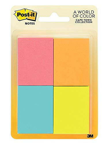 Post-its Notes, 1.5 in x 2 in, Cape Town Collection 1N49F, 8 Pads/Pack (653-8AF), 4-Pack