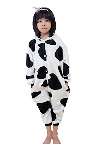 [Kids' Unisex Kigurumi Pajamas Onesie(140#, cow)] (Animal Costume Party City)