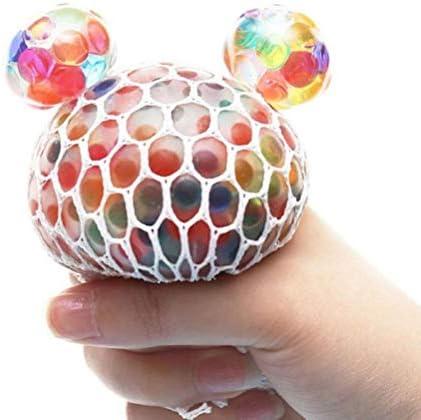 Yeyll Kwaliteit en duurzaam grote mesh ballen met exclusieve genaaid gaas verlichten angst en kalmerendwaterkralen en glitterkleurrijke antistress knijp druivenballen zintuiglijk speelgoed cadeau