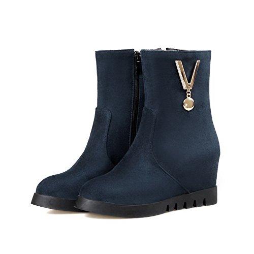 AmoonyFashion Womens Imitated Suede Mid Top Solid Zipper High Heels Boots Blue cUqyNdqI
