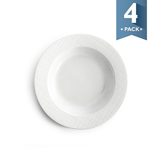 Sweese 1202 Porcelain Rim Soup Bowls - 8 inches for Pasta, Salad and Soup, Plaid Pattern - Set of 4, White