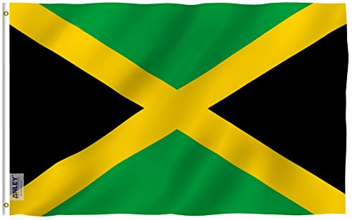 ANLEY [Fly Breeze] 3x5 Foot Jamaica Flag - Vivid Color and UV Fade Resistant - Canvas Header and Double Stitched - Jamaican National Flags Polyester with Brass Grommets 3 X 5 Ft