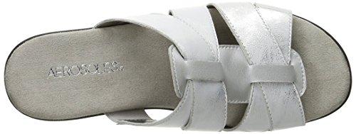 Sandalo Da Scivolo In Pelle Argentata Da Donna