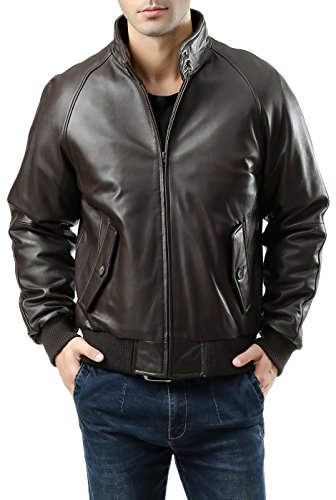Landing Leathers Men's WWII Lambskin Leather Bomber Jacket - Tall XXLT Dark Brown
