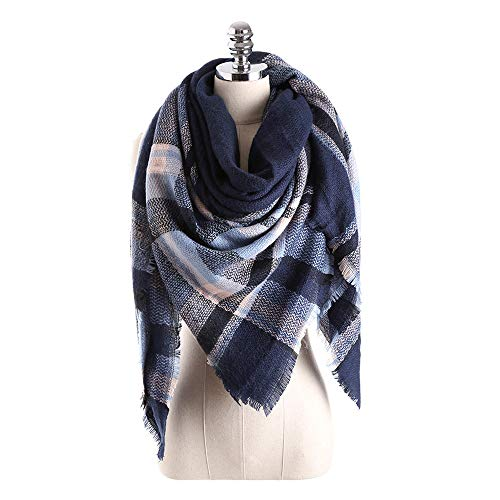 Women's Spring Winter Lightweight Scarf Fashion Jacquard Cotton Parisian Stripe Shawl Soft Beach Towel HunYUN -