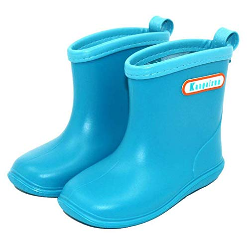 HAILI Soft Durable PVC Toddle Rain Boot Waterproof Non-Slip Wellies for Little Kids, Boys & Girls (7/8/9/10/11/12M US Size) (12, Sky Blue)