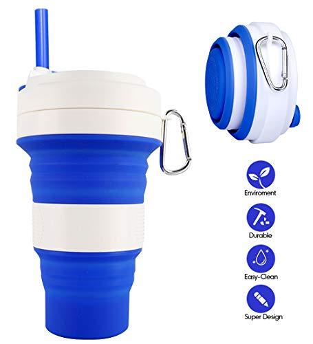 Collapsible Silicone Cup - Idealife Drinking Cup Foldable Cup with 3 Adjustable Capacities, BPA Free, Portable Folding Cup for Travel Camping Hiking Office, Max Up to 550ml (Blue)
