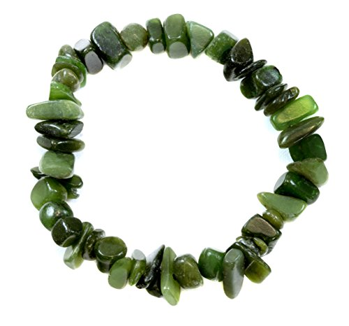 Jade Bracelet Green Nephrite Polished Nugget Style Stones Stretch Style Adjustable 7'' by Spyglass Designs (Image #3)