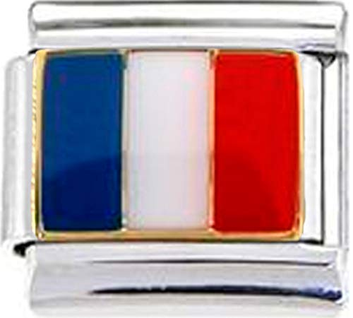 (Stylysh Charms France French Flag Enamel Italian 9mm Link PE011 )