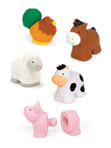 Melissa & Doug Pop Blocs Farm Animals Educational Baby Toy - 10 Linkable (Doug Farm Animals)