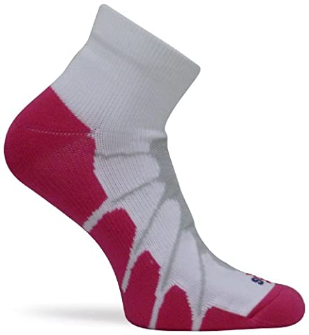 Sox Sport Plantar Fasciitis Arch Support Low Cut Running, Gym Compression Socks, White/Pink, Large - SS4011