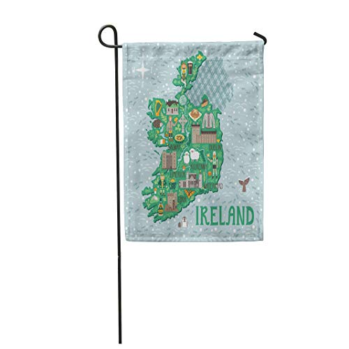 (Semtomn Garden Flag 28x40 Inches Print On Two Side Polyester Map of Ireland Travel with Irish Castles People Symbols Traditional Food Home Yard Farm Fade Resistant Outdoor House Decor)